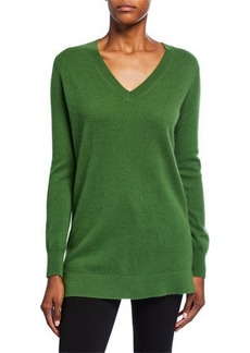 Neiman Marcus Cashmere V-Neck Long-Sleeve Sweater