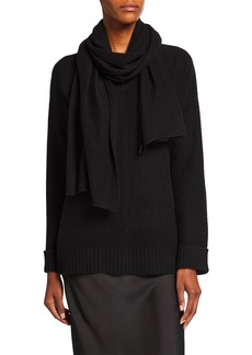 Neiman Marcus Cashmere V-Neck Sweater with Removable Scarf