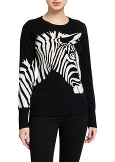 Neiman Marcus Cashmere Zebra-Print Sweater