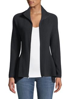 Neiman Marcus Cashmere Zip-Front Peplum Jacket