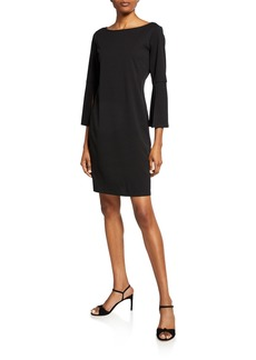 Neiman Marcus Casual Fitted Dress w/ Three-Quarter Sleeves
