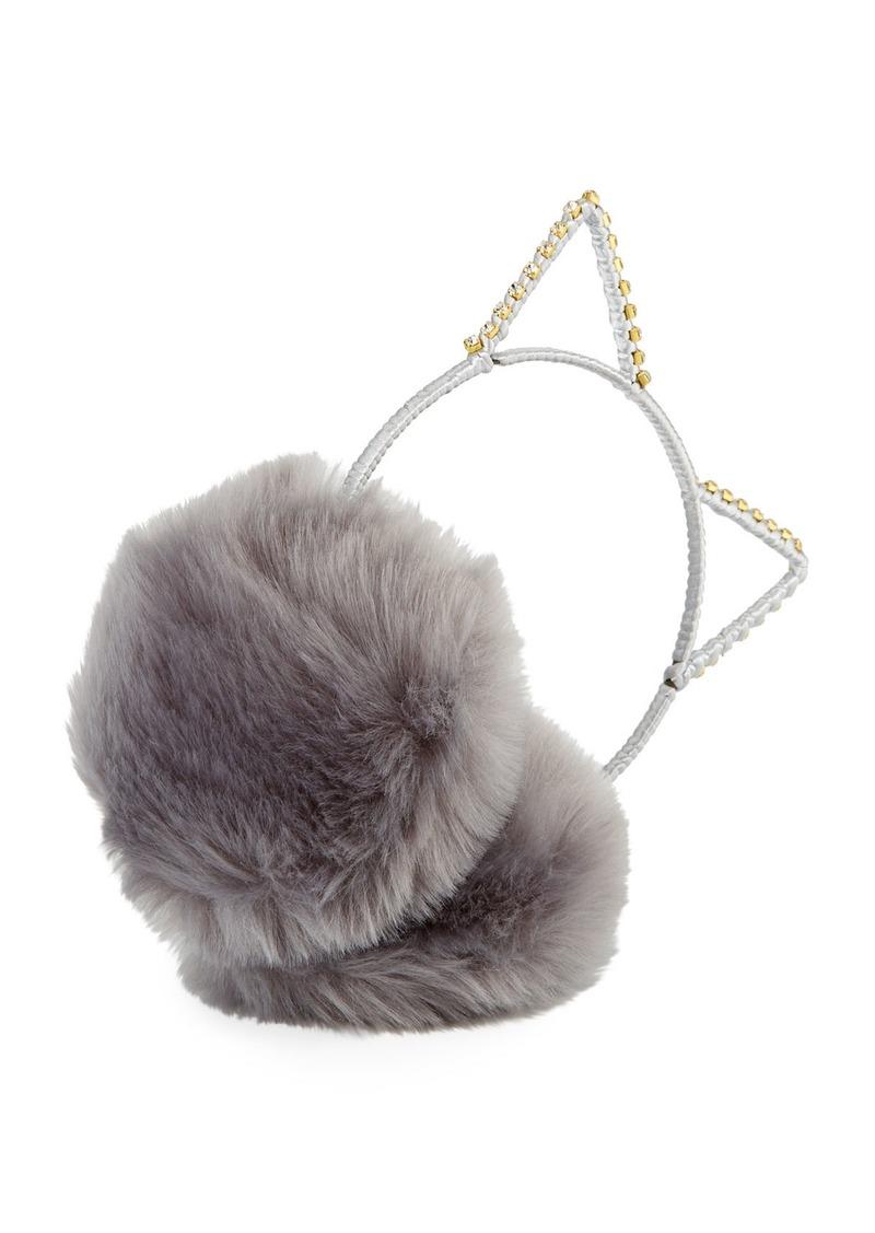 Neiman Marcus Cat Ear Crystal Faux-Fur Earmuffs  fd219c394790