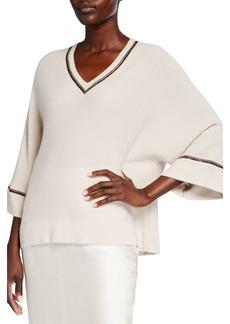 Neiman Marcus Chain Trim V-Neck Dolman Cashmere Sweater