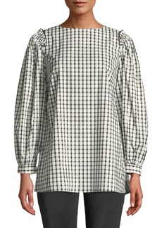 Neiman Marcus Checkered Ruffle-Shoulder Blouse