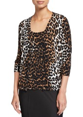 Neiman Marcus Cheetah Print Elbow-Sleeve Cashmere Cardigan