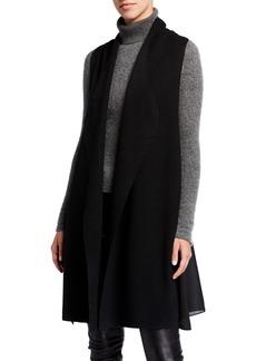 Neiman Marcus Chiffon Back Wool-Blend Sweater Vest