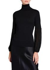Neiman Marcus Chiffon Trim Cashmere Turtleneck Sweater
