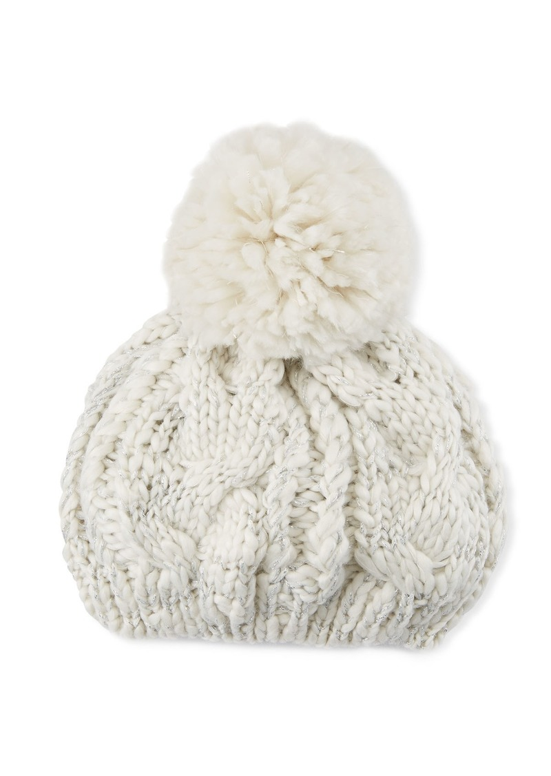 Neiman Marcus Chunky Cable Knit Beret with Pompom