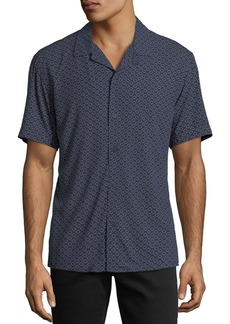 Neiman Marcus Classic-Fit Broken-Circles Short-Sleeve Sport Shirt