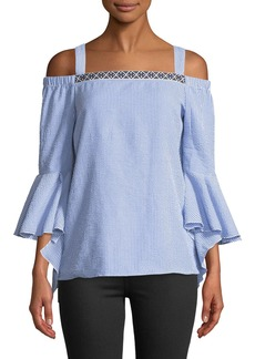 Neiman Marcus Cold-Shoulder Bell-Sleeve Seersucker Blouse
