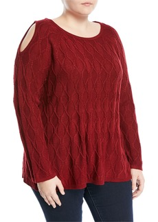 Neiman Marcus Cold-Shoulder Pullover Sweater