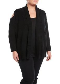 Neiman Marcus Cold-Shoulder Rib-Knit Cardigan