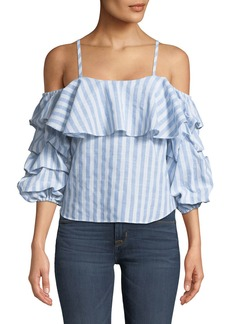 Neiman Marcus Cold-Shoulder Ruffle-Tiered Striped Blouse
