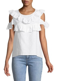 Neiman Marcus Cold-Shoulder Ruffled Linen Tank