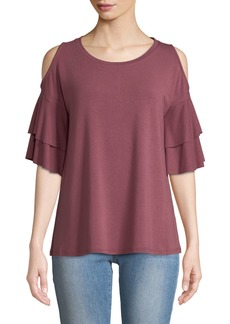 Neiman Marcus Cold-Shoulder Ruffled Terry Tee