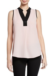 Neiman Marcus Collared Contrast-Tipped Sleeveless Blouse
