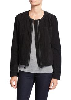Neiman Marcus Collarless Zip-Front Suede Jacket