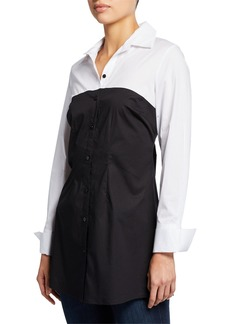 Neiman Marcus Colorblock Button-Down Tunic Top