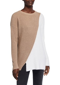 Neiman Marcus Colorblock Cashmere-Blend Shaker Sweater