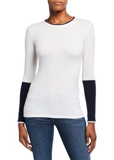 Neiman Marcus Colorblock Crewneck Long-Sleeve Cashmere Sweater