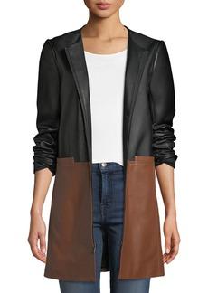 Neiman Marcus Colorblock Leather Zip-Front Topper