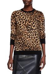Neiman Marcus Colorblock Leopard Print Cashmere Sweatshirt