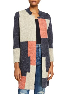 Neiman Marcus Colorblock Long Cardigan