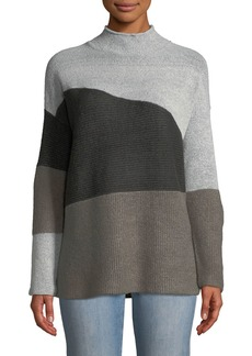 Neiman Marcus Colorblock Mixed-Stitch Sweater