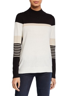 Neiman Marcus Colorblock Mock-Neck Sweater