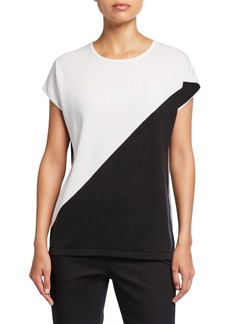 Neiman Marcus Colorblock Short-Sleeve Cotton Top