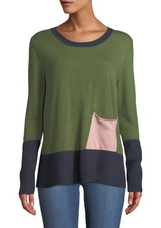 Neiman Marcus Colorblocked Patch Pocket Sweater