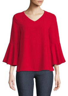 Neiman Marcus Cowl-Back Bell-Sleeve Blouse