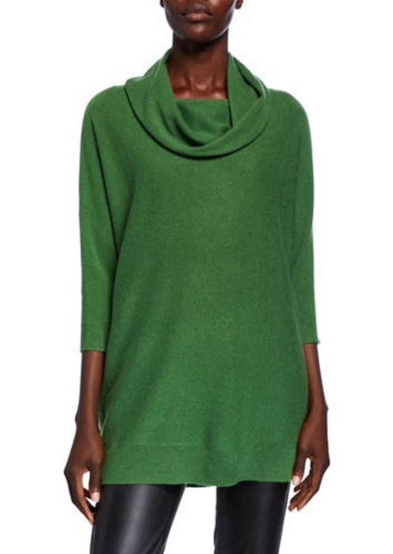 Neiman Marcus Cowl-Neck 3/4-Sleeve Cashmere Sweater