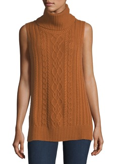 Neiman Marcus Cowl-Neck Cable-Knit Cashmere Vest