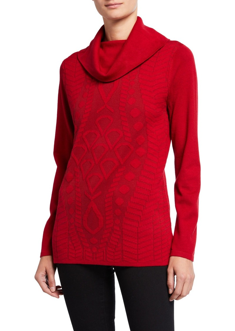 Neiman Marcus Cowl-Neck Self Intarsia Tunic Sweater
