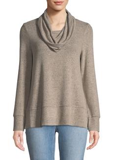 Neiman Marcus Cowl-Neck Space-dye Sweatshirt