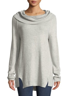 Neiman Marcus Cowl Neck Sweatshirt with Exposed Seam
