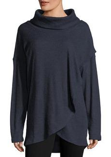Neiman Marcus Cowl-Neck Tulip-Hem Sweater
