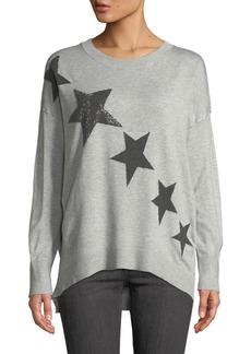 Neiman Marcus Crew-Neck Beaded Star Sweater