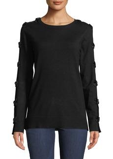 Neiman Marcus Crew-Neck Long-Sleeve Bow-Tie Sweater