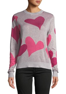 Neiman Marcus Crew-Neck Tricolor Heart Sweater