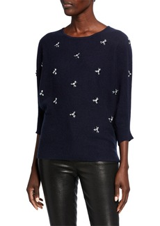 Neiman Marcus Crewneck 3/4-Sleeve Cashmere Sweater w/ Embellished Front