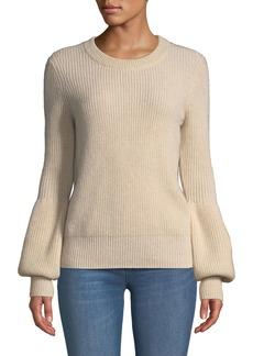 Neiman Marcus Crewneck Blouson-Sleeve Cashmere Pullover Sweater