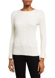 Neiman Marcus Crewneck Flare-Sleeve Sweater