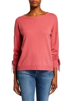 Neiman Marcus Crewneck Ruched Long-Sleeve Cashmere Sweater
