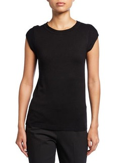 Neiman Marcus Crewneck Slit Cap-Sleeve Top