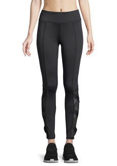 Neiman Marcus Crisscross-Mesh-Side Leggings