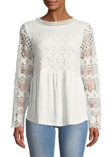 Neiman Marcus Crochet-Bodice Peasant Blouse