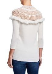 Neiman Marcus Crochet Yoke 3/4-Sleeve Mock-Neck Cashmere Sweater