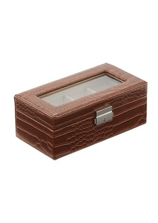 Neiman Marcus Crocodile-Embossed Faux-Leather Watch Box